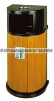 古都环卫钢木单桶果皮箱